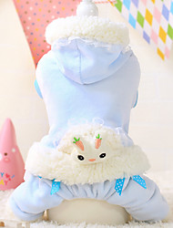 Dog Hoodie White / Blue Winter Cartoon Keep Warm, Dog Clothes / Dog Clothing
