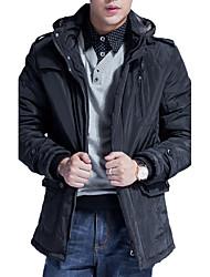 Manteau Rembourré Pour des hommes Normal Manches longues Mosaïque Coton
