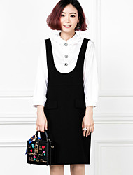 De las mujeres Negro y Blanco Vestido Noche Bonito,Un Color Escote Chino Sobre la rodilla Manga Larga Negro Algodón Primavera