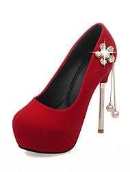 Women's Heels Spring Summer Fall Platform Comfort PU Wedding Dress Party & Evening Stiletto Heel Crystal Tassel Flower Black Red Walking