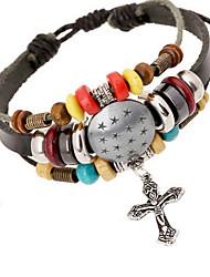 Women Alloy Silver Cross Leather Bracelets