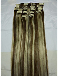 "15 ""klem in remy human hair extensions # 6/613 8pcs / 70g"