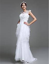 LAN TING BRIDE Trapèze Robe de mariée Tout Simplement Superbe Longueur Sol Bijoux Tulle avec Fleur