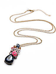 Retro Statement Jewelry Summer Fashion Long Chain Colorful Crystal Flower Pendant Necklaces For Women