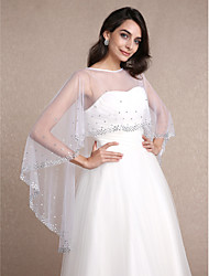 Women's Wrap Capelets Sleeveless Tulle White Wedding Party/Evening Scoop 30cm Rhinestone Pullover