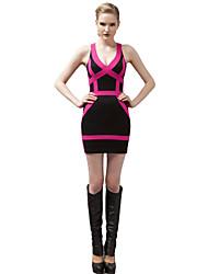 joannekitten® женщин Sexy Глубокий V шеи геометрическая проходимость назад Bodycon платье