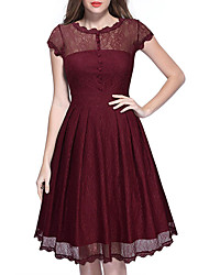 Women's Casual/Daily / Formal Vintage Sheath Dress,Solid Round Neck Short Sleeve Red / Black Cotton / Polyester Summer