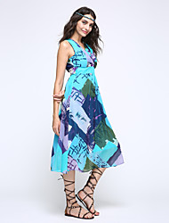 Women's Holiday / Plus Size Boho / Street chic Chiffon Dress,Print V Neck Midi Sleeveless Blue / Red / Green / Yellow Silk Summer