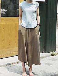 Mulheres Calças Simples Perna larga / Chinos Poliéster Sem Elasticidade Mulheres