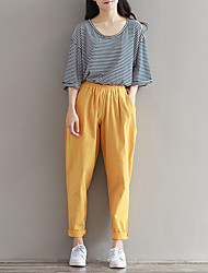 Women's Solid Yellow Harem Pants,Simple