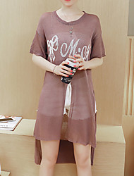 Women's Casual/Daily Simple Tunic Dress,Letter Round Neck Above Knee Short Sleeve Purple Cotton Spring / Summer