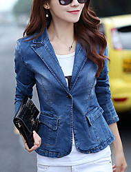 Women's Casual/Daily Simple Fall Denim Jackets,Solid Asymmetrical Long Sleeve Blue Cotton Medium