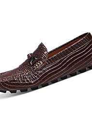 Masculino-Sapatos de Barco-Rasos-Rasteiro-Azul / Marrom / Cinza / Vinho-Pele-Casual