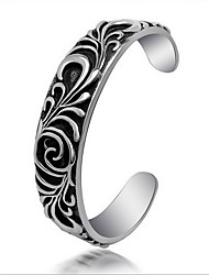 Punk Style Men's 316 Titanium Steel Silver Cross Fine Jewelry Bracelet Cuff Bangle