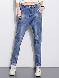Women's Solid Blue Jeans Pants,Simple