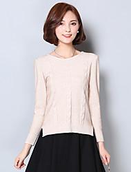 Damen Standard Pullover-Lässig/Alltäglich Einfach Solide Beige / Grau Rundhalsausschnitt Langarm Baumwolle Herbst / Winter Mittel
