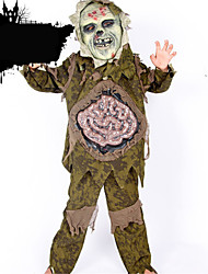 Costumes Zombie Halloween Green Solid Linen Top / Pants / Mask