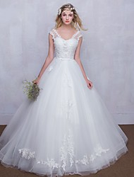 Ball Gown Wedding Dress Floor-length V-neck Tulle with Appliques / Lace