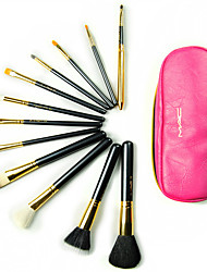 12 Makeup Brushes Set Horse / Goat Hair / Nylon Professional / Travel Wood Face / Eye / Lip Others With Cosmetic Bag
