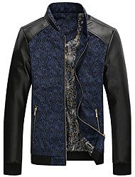 Men's Long Sleeve Casual / Work / Formal / Sport / Plus Sizes Jacket,PU / Polyester Patchwork