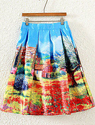 Women's Blue Skirts,Street chic Knee-length