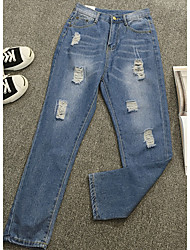 Women's Solid Blue Jeans / Chinos Pants,Simple
