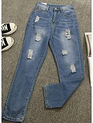 Mulheres Calças Simples Chinos / Jeans Algodão Sem Elasticidade Mulheres