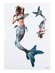 1pc Body Art Decal Tatoo for Beauty Women Men Europe and America Mermaid Design Temporary Tattoo Sticker HB-407