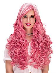 rosa ondulado lolita cabelo wig.wig, peruca dia das bruxas, peruca cor, peruca de moda, peruca natural, cosplay peruca