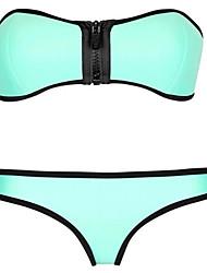 Bikinis Aux femmes Couleur Pleine / Rétro Bandeau Nylon / Spandex