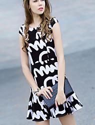 Women's Casual/Daily Sophisticated Sheath Dress,Print Round Neck Mini Sleeveless Black Linen Summer