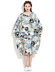 HANBELLE Women's Round Neck Long Sleeve Tea-length Dress-874#