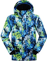 GQY® Ski Wear Ski/Snowboard Jackets Men's Winter Wear Polyester Floral / Botanical Winter Clothing Thermal / Warm / Windproof / Wearable