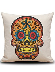 Golden Skull Linen Pillow Cover