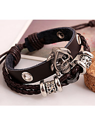 Leather Bracelets 1pc,Black / Brown Bracelet Vintage Circle 514 Leather Jewellery