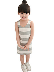 Girl's Going out Striped Tank & Cami,Others Summer Black / Gray