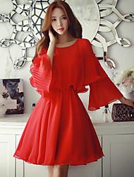 De las mujeres Recto Vestido Noche / Trabajo / Vacaciones Bonito / Chic de Calle / Sofisticado,Un Color Escote Redondo Sobre la rodilla