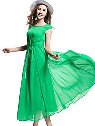 BORME® Women's Round Neck Sleeveless Solid Color Tea-length Dress-Y008