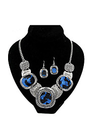 Concise Geometrical Modelling Temperament Short Necklace, Earrings Suit