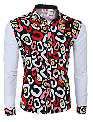 Men's Print Casual / Formal Shirt,Cotton Long Sleeve Multi-color