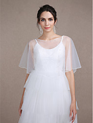 Women's Wrap Capelets Sleeveless Tulle Ivory Wedding / Party/Evening Scoop Button / Pearls Pullover