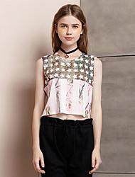 Damen Druck Einfach Ausgehen T-shirt,Rundhalsausschnitt Sommer Ärmellos Rosa Polyester / Elasthan Dünn