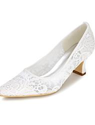 Damen Hochzeit Schuhe Pumps Frühling Sommer Netz Hochzeit Party & Festivität Applikation Blockabsatz Weiß Schwarz Rosa Elfenbein 5 - 7 cm
