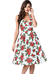 Women's Retro Rose Floral Halter Cannes Swing Dress