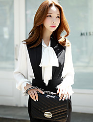 DABUWAWA Women's Casual / Work Vintage / Simple / Sophisticated Pleated Shirt,Solid Stand Long Sleeve