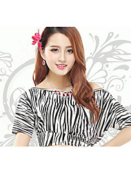 Belly Dance Tops Women's Training Milk Fiber 1 Piece Zebra Belly Dance Short Sleeve Natural Top