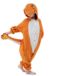 kigurumi Pyjamas New Cosplay® Dragon Collant/Combinaison Fête / Célébration Pyjamas Animale Halloween Orange Mosaïque vison de velours