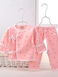 малыш Набор одежды-На каждый день,С принтом,Хлопок,Весна-Синий / Розовый / Красный / Желтый / Бежевый / Серый