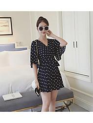 Women's Casual/Daily Simple Chiffon Dress,Polka Dot V Neck Above Knee ½ Length Sleeve White / Black Cotton Summer