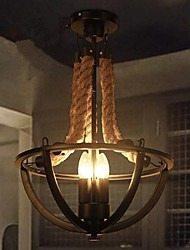 American Country Creative Restaurant Cafe Bedroom Chandelier Lamp Bar Iron Chandelier Rope